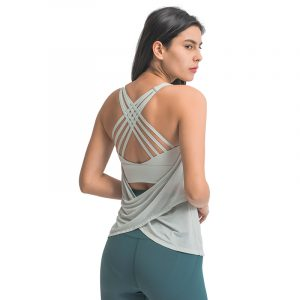 Sexy Backless Yoga Tank Shirt with Built-In Sports Bra