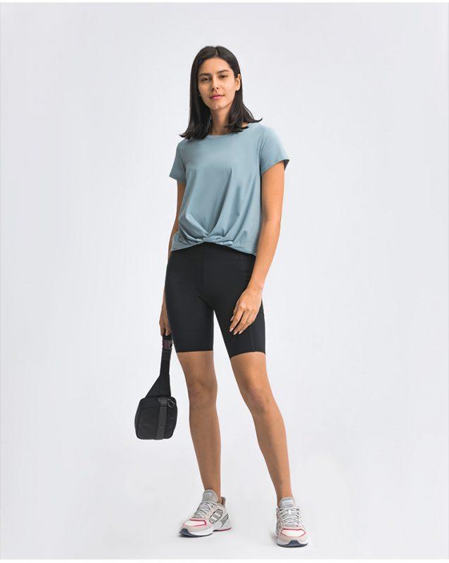 Basic Short Sleeve Yoga Tops model show