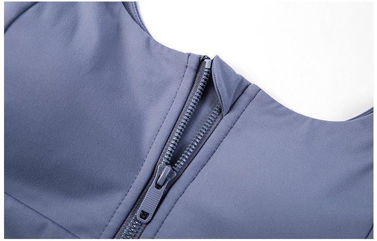 zip front sports bra detail